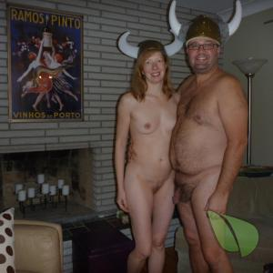 Solo nudist enjoying halloween