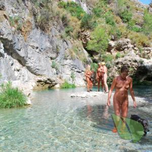 a bunch of nudist splashing around in nature