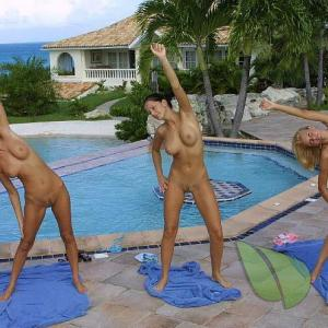 a group of women trying yoga