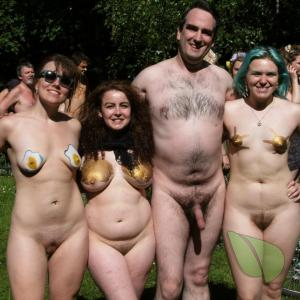 a group of nudists rocking bodypaint outside