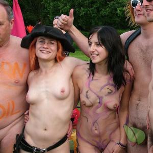 a group of nudey ready for halloween in the woods