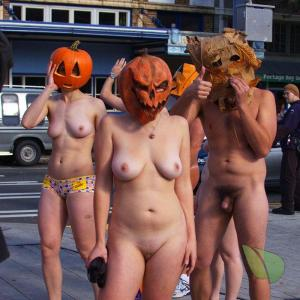 a group of naturist all dressed up in nature