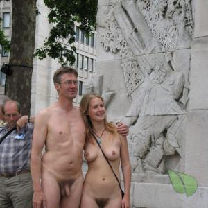 A nude couple outdoors