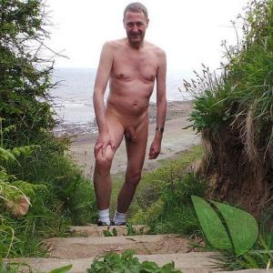 One nudist in the forest