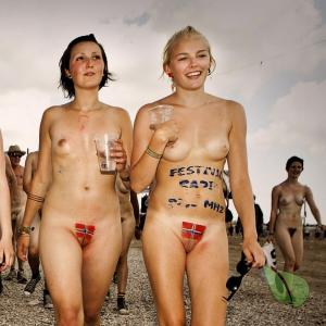 a crowd of naturists in nature