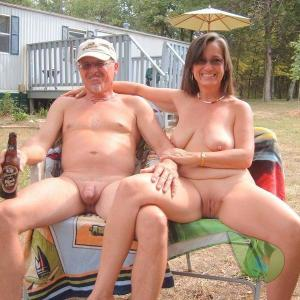 A nude couple out and about