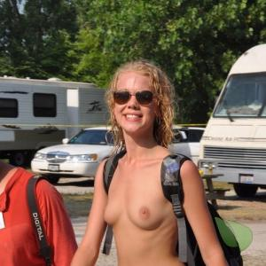 Solo nudists relaxing at home out camping