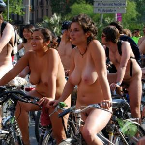 a group of nude people out and about