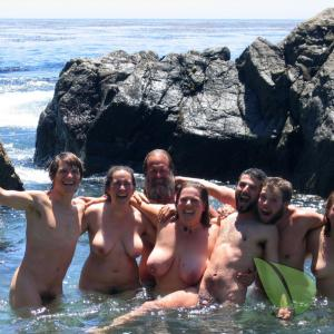 a crowd of nudists out and about