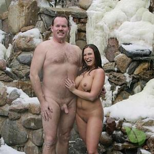 One nudist couple in nature