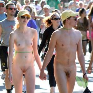 A nudists rocking bodypaint outside