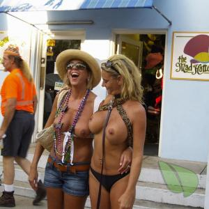 One nudists dressing up out and about