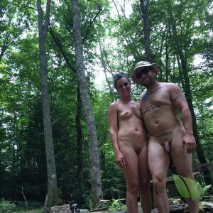 Solo nudist all tattooed up in the wilderness