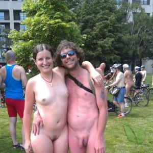 a crowd of nudist outdoors