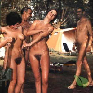 a group of nude person camping