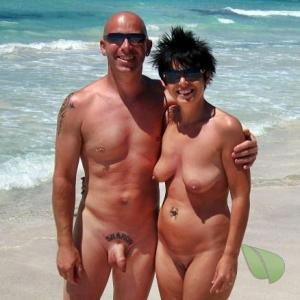 One nudists with cool tattoos in nature