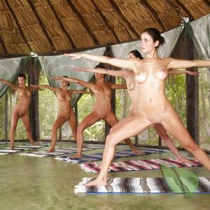 some friends practicing asanas in the woods