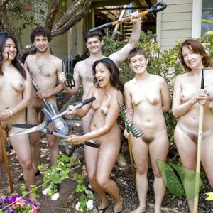 a crowd of naturists sitting at home outdoors