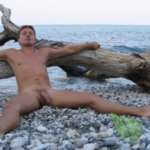 One nudist in the wilderness