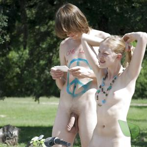 A nudist wearing fun bodypaint outside