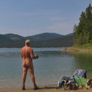 One nudist having fun outdoors