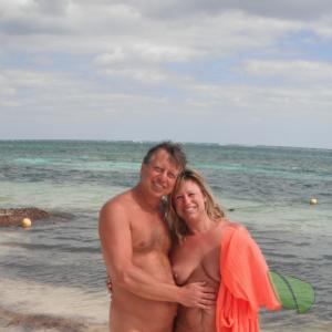 One nudists on the beach