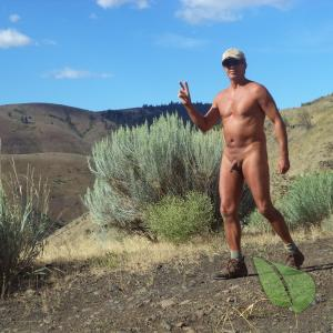 One nudist enjoying nature out and about