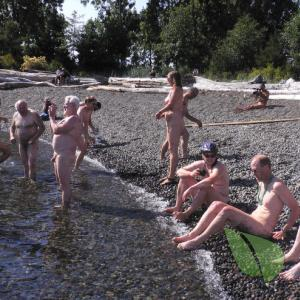 a group of co-ed nudists relaxing in the water in the wilderness