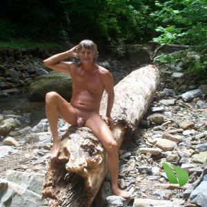 One dude trekking in the woods