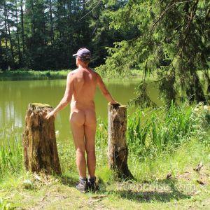 Solo dude trekking in nature
