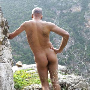 A nudist outdoors