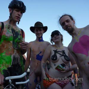 some co-ed nudists wearing fun bodypaint